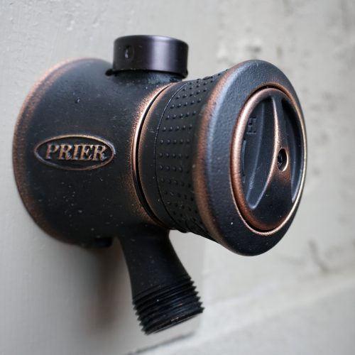 PRIER P-118X08-ORB OIL RUBBED BRONZE TRUE TEMP SINGLE-HANDLE HOT & COLD MIXING HYDRANT X STYLE 1/2